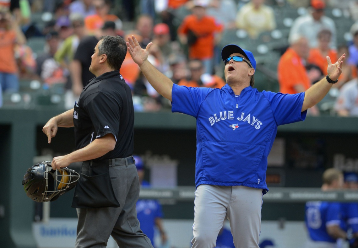 Toronto Blue Jays manager Gibbons reacts as he gets ejected from game by umpire DiMuro for arguing during their MLB American League baseball game in Baltimore